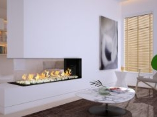 open wall, two sided fireplace