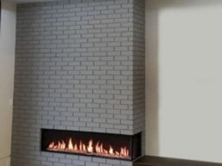 modern fireplace in brick