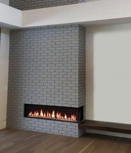 modern fireplace in brick