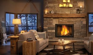 traditional style fireplace in dark room