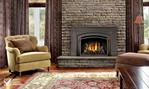 fireplace surrounded by brick