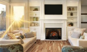 traditional style fireplace in living room